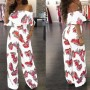 Red-White Floral Print Backless Ruffle Long Jumpsuit