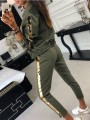 Green Patchwork Sequin Pockets V-neck Long Sleeve Casual Long Jumpsuit
