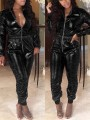 Black Zipper Pockets Turndown Collar Long Sleeve Bodycon Latex Vinly Patent Rubber Party Long Jumpsuit