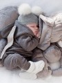 Grey Plain Zipper Fluffy Cute baby long jumpsuit