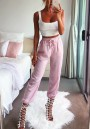 Pink Plain Drawstring Waist Mid-rise Casual Nine's Pants