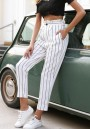 White Striped Pockets Ruffle Buttons Casual Long Pants