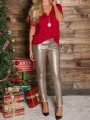 Rose Gold Sequin Glitter Elastic Waist High Waisted Sparkly Casual Long Pants