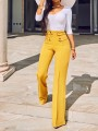 Yellow Zipper Studded High Waisted Wide Leg Elegant Pants