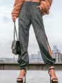 Black Bright Wire Cut Out Pockets Slit High Waisted Long Pants
