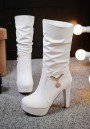 White Round Toe Chunky Fashion Mid-Calf Boots