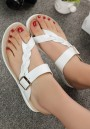 White Round Toe Heavy-Soled Buckle Casual Slippers