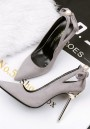 Grey Point Toe Stiletto Bow Pearl Sweet High-Heeled Shoes