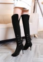 Black Point Toe Stiletto Cross Strap Fashion Over-The-Knee Boots