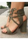 Army Green Round Toe Chunky Lace-up Fashion High-Heeled Sandals