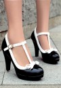 Black Round Toe Chunky Bow Buckle Sweet High-Heeled Shoes