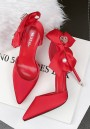 Red Point Toe Stiletto Bow Silk Fashion High-Heeled Shoes