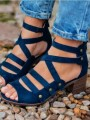Blue Round Toe Chunky Cross Strap Fashion Ankle Sandals