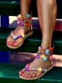 Multicolor Round Toe Flower Fashion Ankle Sandals