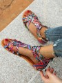 Pink Round Toe Flat Floral Print Buckle Fashion Sandals