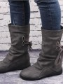 Grey Round Toe Sequin Fashion Mid-Calf Boots
