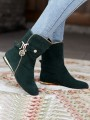 Green Round Toe Flat Zipper Metal Decoration Fashion Ankle Boots