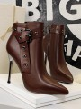 Coffee Point Toe Stiletto Fashion Ankle Boots
