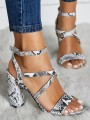 White Round Toe Chunky Print Fashion Mid-Heeled Sandals