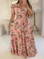 Pink Floral Print Sashes Cut Out Big Swing High Neck Short Sleeve Bohemian Maxi Dress
