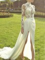 White Patchwork Lace Irregular Side Slit Backless Wedding Banquet Party Maxi Dress