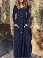 Dark Blue Single Breasted Long Sleeve V-neck Casual Fashion Women Maxi Dress