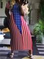 Red-White Striped American Flag Print Short Sleeve Independence Day Casual Maxi Dress