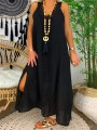 Black Patchwork Lace V-neck Sleeveless Going out Maxi Dress