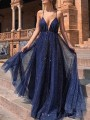 Navy Blue Patchwork Grenadine Draped Sequin Spaghetti Strap V-neck Fashion Maxi Dresses