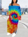 Light Blue Tie Dyeing Off Shoulder Backless Bohemian Beach Maxi Dress