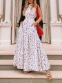 White Floral Pockets Pleated Big Swing Bohemian Party Maxi Dress