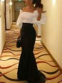 Black Off Shoulder Bodycon Mermaid Puff Sleeve Prom Evening Party Maxi Dress