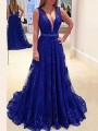 Blue Patchwork Lace Grenadine Backless Ttrendy Party Maxi Dress