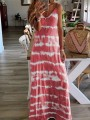 Red Patchwork Print One Piece Ttrendy Going out Maxi Dress