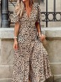 Brown Leopard Buttons V-neck Short Sleeve Fashion Maxi Dress