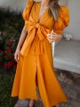Orange Patchwork Bow Buttons V-neck Puff Sleeve Fashion Maxi Dress