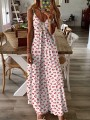 White Floral V-neck Spaghetti Strap Honey Girl Beach Maxi Dress