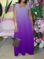 Purple Gradient Bow Pleated Bohemian Beach Party Maxi Dress