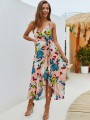 Coral Red Floral Pattern Sashes V-neck Sleeveless Bohemian Maxi Dress