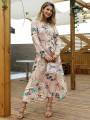 Khaki Floral Pattern Belt V-neck Long Sleeve Bohemian Maxi Dress