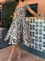 Leopard Print Off Shoulder Pleated Pockets Tutu Homecoming Party Maxi Dress