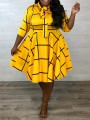 Yellow Plaid Bow Pleated Plus Size Party Maxi Dress