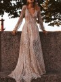 Silver Patchwork Sequin Draped Deep V-neck Long Sleeve Backless Maxi Dress