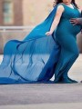 Blue Patchwork Long Cape Backless V-neck Sleeveless Mermaid For Babyshower Flowy Maxi Maternity Dress