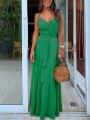 Green Buttons Belt Lace-up Shoulder-Strap V-neck Draped Big Swing Flowy Beach Maxi Dress
