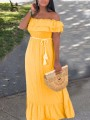 Neon Yellow Patchwork Cascading Ruffle Off Shoulder Ruffle Sleeve Tassel Belt Draped Falbala Bohemian Maxi Dress
