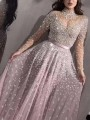 Pink Patchwork Sequin Grenadine Band Collar Long Sleeve Tulle Tutu Flowy Prom Maxi Dress
