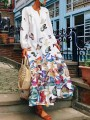 White Colorful Butterfly Print Pockets V-neck Long Sleeve Flowy Cute Maxi Dress