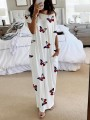 White Colorful Butterfly Print Pockets Off Shoulder Casual Pajama Maxi Dress