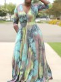 Pink Tie Dyeing Pleated Pockets Plus Size Bohemian Party Maxi Dress